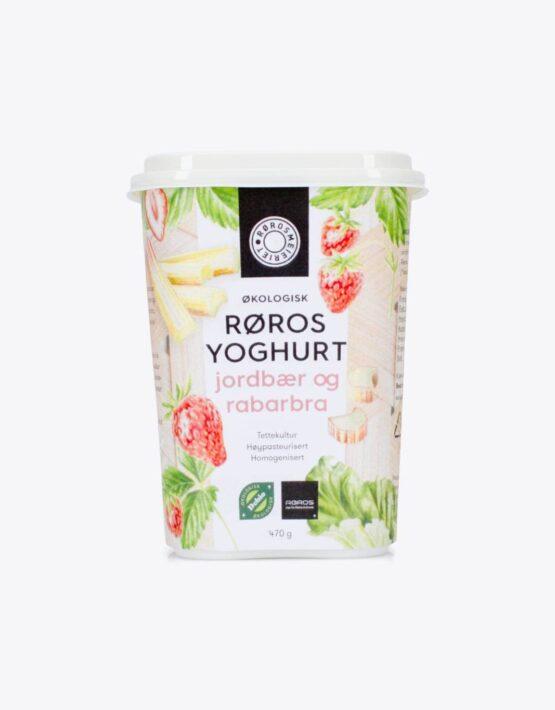 Røros yoghurt jordbær og rabarbra
